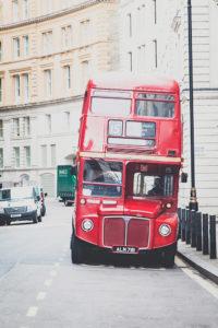 Typischer roter Bus in London