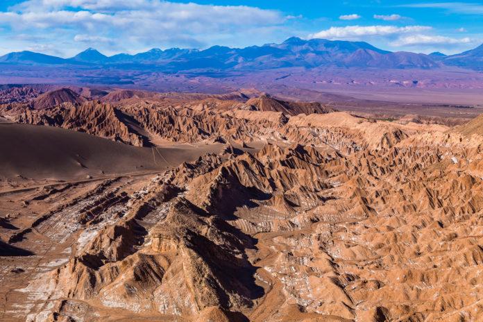 Das Valle de la Muerte in der Atacama Wüste von oben