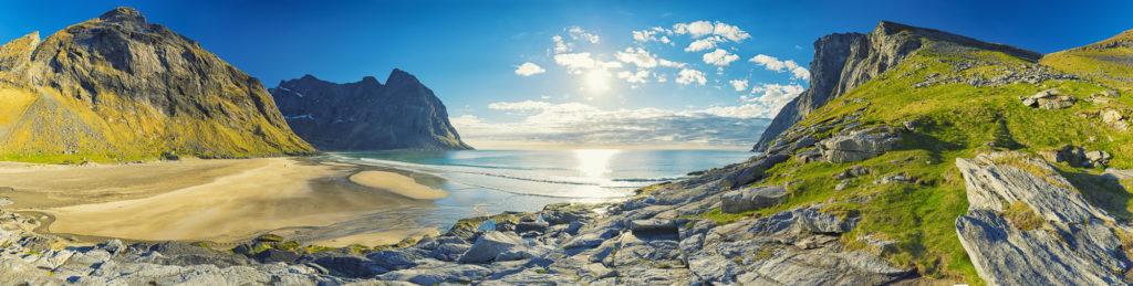 Panorama vom Kvalvika Beach