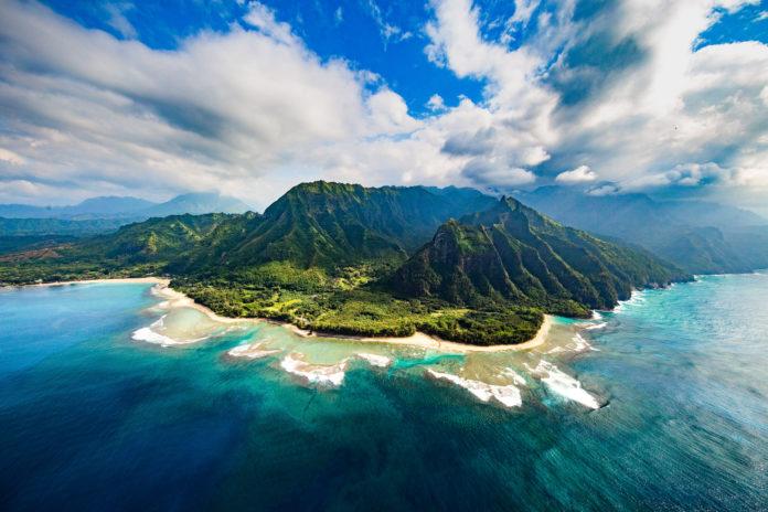 Die Küste von Kauai von oben