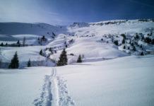 Aufstiegsspur der Skitour auf den Kalkbretterkopf